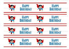 Super Man Hero Happy Birthday Edible Ribbon Cake Decorating Icing x 4 Strips