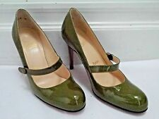 CHRISTIAN LOUBOUTIN army green patent leather Mary Jane heels pumps 36.5 WORN 1x