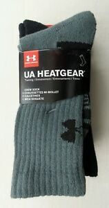 Under Armour Crew Socks 3 Pack Youth Medium 13.5Κ-4Y Black Grey White Heatgear