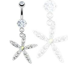 FANCY STARFISH FLOWER BELLY NAVEL RING CLEAR CZ GEM BUTTON PIERCING JEWELRY B639