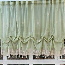 Balloon Curtains & Tie-Up Adjustable Curtains with Floral Embroidery and Lace Cr