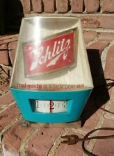 Schlitz Beer Sign 1964 Lighted Motion Spinning Bar Real Gusto Clock Works Nice!