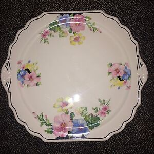 """The Harker Pottery Co. Ceramic Floral Plate - 12"""" x 11"""""""