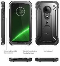 Motorola Moto G7 Case Full Body Drop Protective Screen Protector Kickstand Black