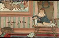 Christmas Santa Claus Sleigh Boy Asleep in Chair c1910 Embossed Postcard