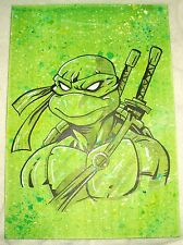 Paper Painting Ninja Turtles Leonardo Green Speckled B&W Art 16x12 inch Acrylic