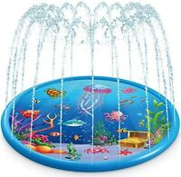 "Splash Pad Kids Sprinkler Play Mat 68"" Wading Pool Summer Toddlers Outdoor Toy"