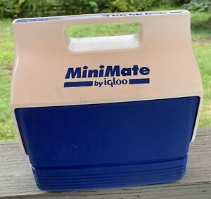 Vintage  Mini Mate Cooler By Igloo Made In USA Blue And White 1998