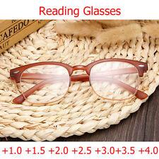 Designer Trendy Unisex Reading Glasses +3.50 Optical Oval Lens Brown Frames