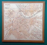 """1897 BAEDEKER MAP - Germany Dresden City Plan 10.5 x 11"""" (27 x 28 cm)"""