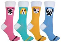 TALKIE SOCKS - Womens Cotton Novelty Colourful Pastel Socks with Cats & Dogs On