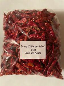 Dried Arbol Chili Peppers - Chile de arbol seco  8 oz  100%  Mexicano