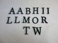 Lot of 13 vtg black plastic letters.Random mix.A,B,H,I,L,M,O,R,T,W. Flat back.
