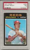 1971 TOPPS #250 JOHNNY BENCH, PSA 7 NM, HOF, CINCINNATI REDS, L@@K !