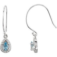 Aquamarine & 1/10 ct. tw. Diamond Halo-Styled Dangle Earrings In 14K White gold