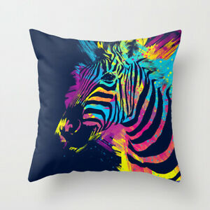Cushion Pillow Cover Zebra Animal Colorful  18'*18' Home Decoration Fast UK