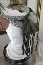 XXL hiver foulard écharpe étole franges Plaid PONCHO CAPE oliv-weiß Blogger