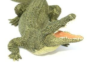 "Papo 2007 LARGE 8.5"" Realistic Hand Painted Alligator PVC Figure"