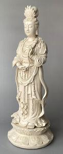 Antique Chinese Blanc de Chine Porcelain Figure of Guanyin Dehua