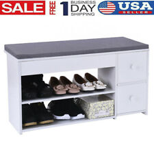 2Tier Shoes Bench Entryway Storage Rack Storage Soft Cushion Stool With 2 Drawer