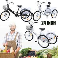 """Ridgeyard 3 roues 24 """"tricycle adulte avec panier vélo 3 couleurs 6 vitesses"""