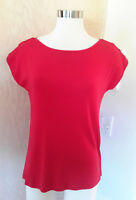 Talbots Women's Red Short Sleeve Knit Top Gold Shoulder Buttons Size SP