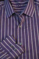 Bugatchi Uomo Men's Purple Gray Stripe Cotton Casual Shirt M Medium