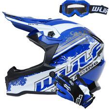 Wulfsport Kids Motocross Helmet Cub Pro + Wulf Gloves Goggles Blue MX Off Road