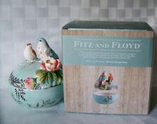 Fitz and Floyd ~ English Garden Lidded Trinket Box Roses Birds New w/ Box