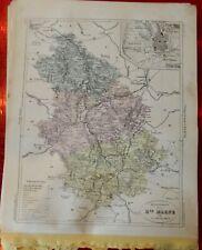Old Map 1900 France Département haute Marne Chaumont Langres Poisson Montigny
