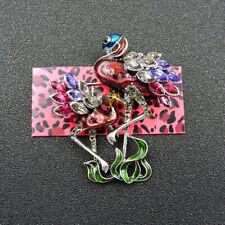 Fashion Red Enamel Crystal Cute Ostrich Charm Brooch Pin