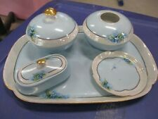 ANTIQUE VINTAGE BAVARIA HANDPAINTED FORGET ME NOTS DRESSER SET POWDER HAIR TRAY
