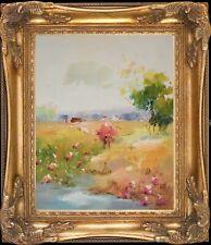 Flower by Creek~Original Oil Painting+Wood Frame