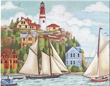 VINTAGE SAIL BOATS PAINTED LADY VICTORIAN HOUSE PRINT  1 CHRISTMAS TEA SHOP CARD