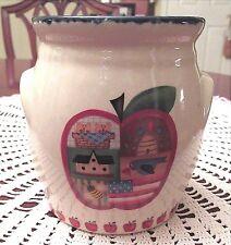 Country Apple Tart Oil Simmer Warmer Ceramic Primitive Flag Basket Americana New