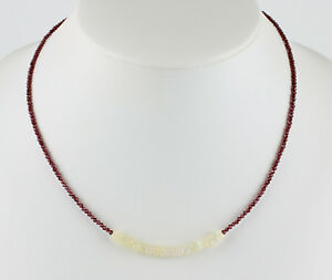 Rhodolite Garnet Chain With Welo Opal Precious Stone Necklace Facetted ca.45 CM