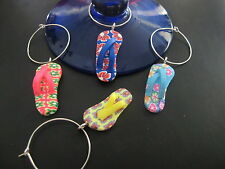 Mixed Thong Wine Charms x4 Flip Flops Quirky Novelty Party Wine Glass Charms New