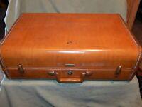 Vintage brown Samsonite suitcase luggage prop end table travel bag