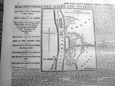 1862 Civil War newspaper w Map & headlines UNION CAPTURES FORT HENRY Tennessee