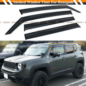 FOR 2015-2020 JEEP RENEGADE SMOKED BLACK TRIM WINDOW VISOR RAIN GURAD W/ CLIPS