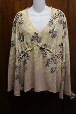 MAURICES Cream Teal Blue Floral Shirt Blouse NWOT 1 1x