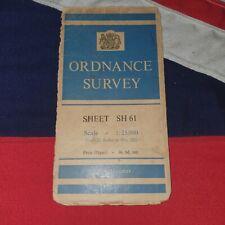 Ordnance Survey National Grid Map Merionethshire North Wales UK Vintage Folding