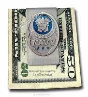 NAVY STAINLESS STEEL TRIBUTE MONEY CLIP - PATRIOTIC MILITARY NAVAL - FREE SHIP'