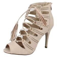 Suede Sandals Patternless Slim Heels for Women