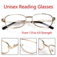 Unisex Reading Glasses Strength 1.0 to 4.0 Gold Frame Clear Lens Eyeglasses