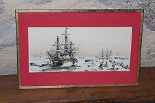 """Marine cadre décoratif en laiton"""" chasse au phoque"""" !!!signée à identifier !!"""