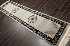 """2'6"""" x 10' Hand Knotted Chinese Art Deco 100% Wool Oriental Area Rug Runner Gray"""