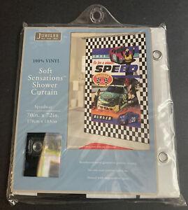 Jubilee Shower Heavy Duty Curtain SPEED Car Raceway checkered flag New