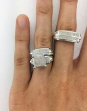 Diamond Wedding 14K White Gold Over Trio His Her Bridal Engagement Band Ring Set