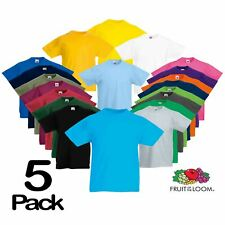 5 Pack Fruit Of The Loom KIDS T-SHIRT TEE CHILDREN BOYS GIRLS SCHOOL PE ALL AGES